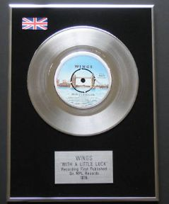 PAUL McCartney & Wings - WITH A LITTLE LUCK PLATINUM single presentation DISC